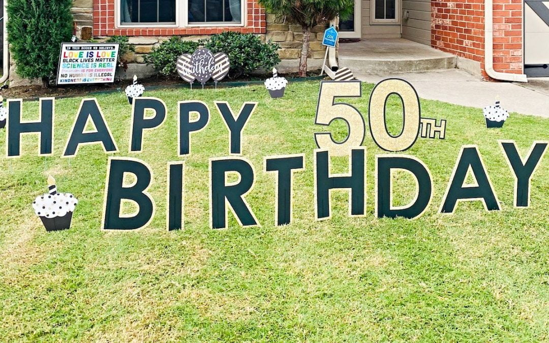 Birthday yard sign for Mitch Randall