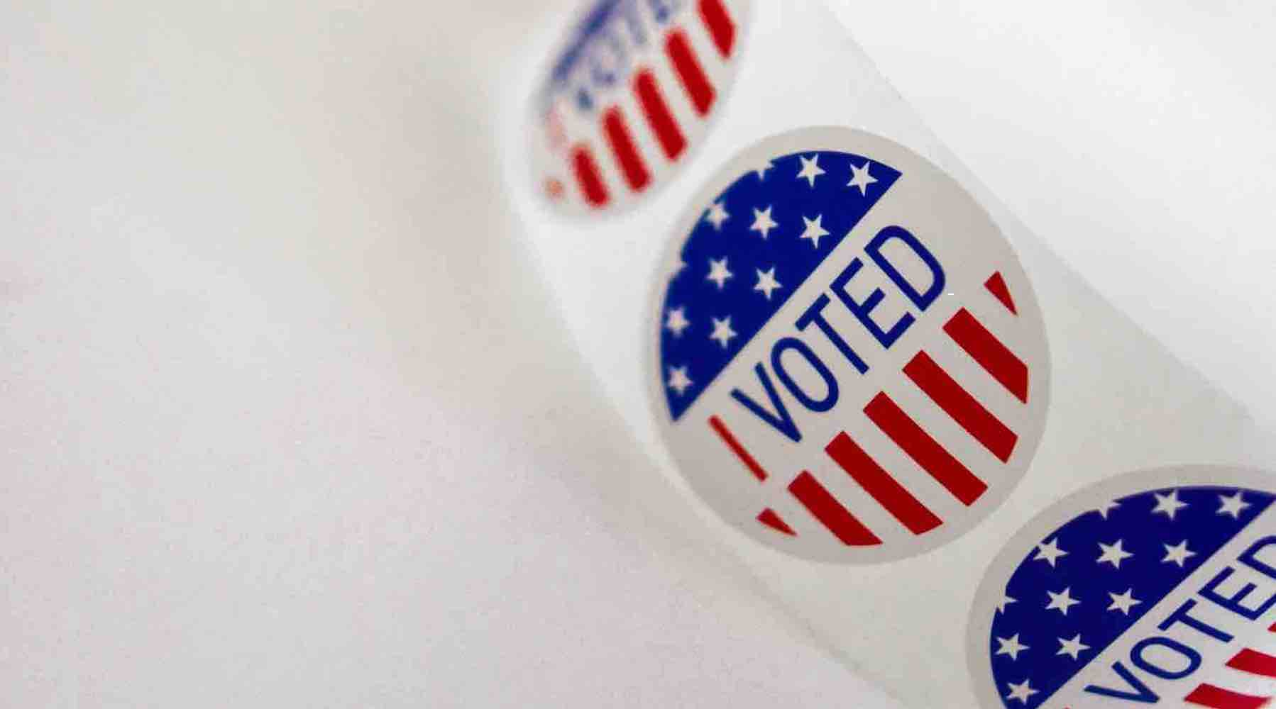 """""""I Voted"""" stickers against a white background"""