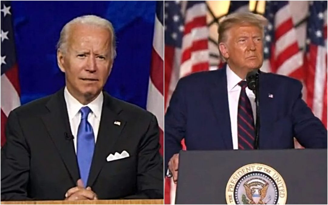 Joe Biden, left, and President Donald Trump