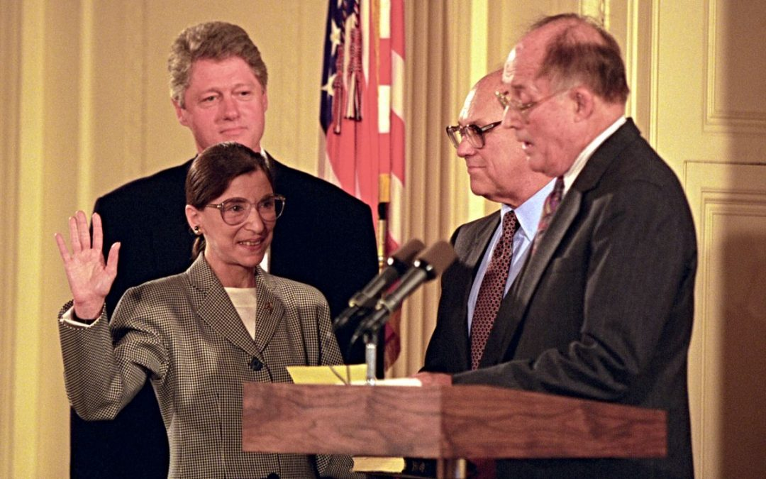William Rehnquist, President Bill Clinton, Ruth Bader Ginsburg and her husband, Martin Ginsburg.