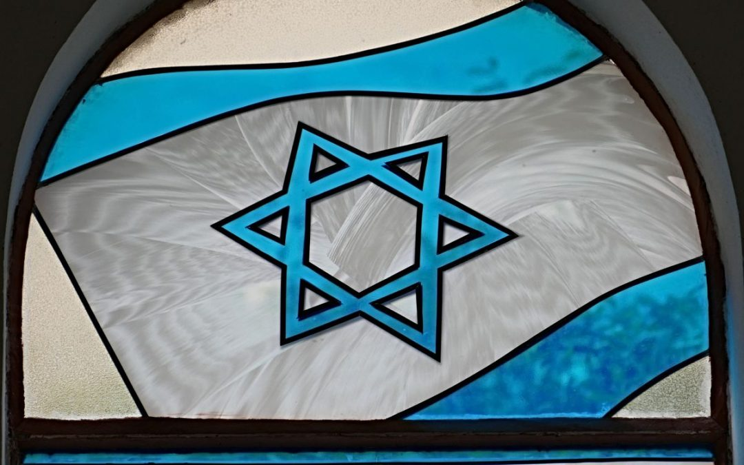 Star of David in blue on white background