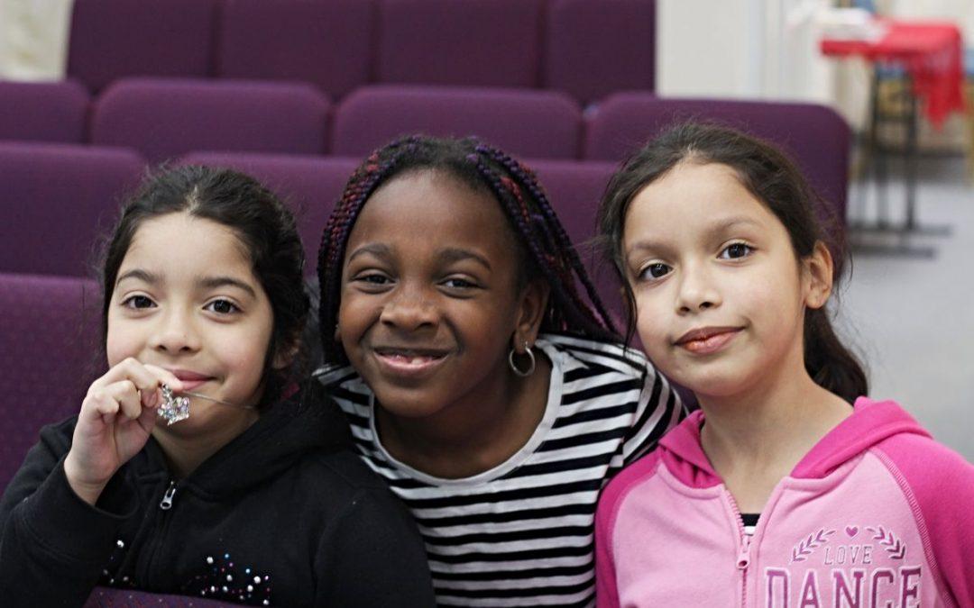 Three girls in Sunday School