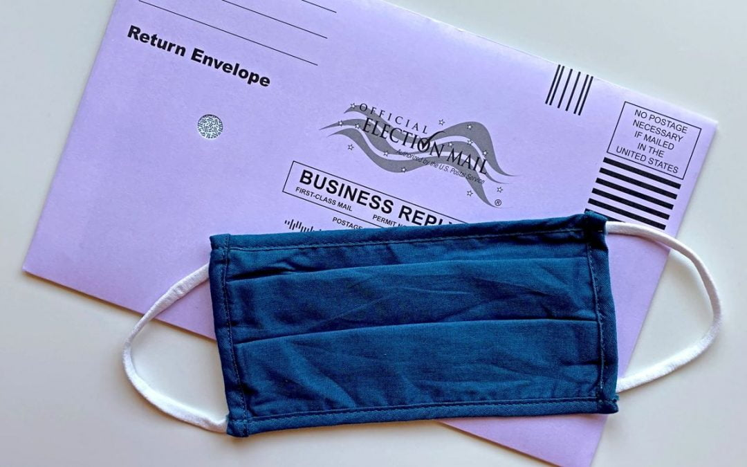 Envelope for mail-in ballot and mask