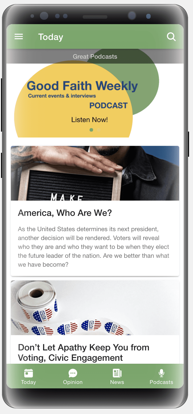 A preview of the Good Faith Media mobile app