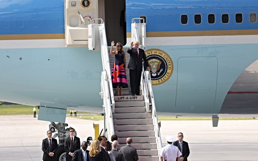President and First Lady Trump leaving Air Force One