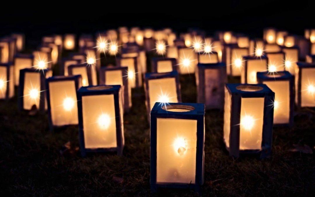 Group of lit lanterns