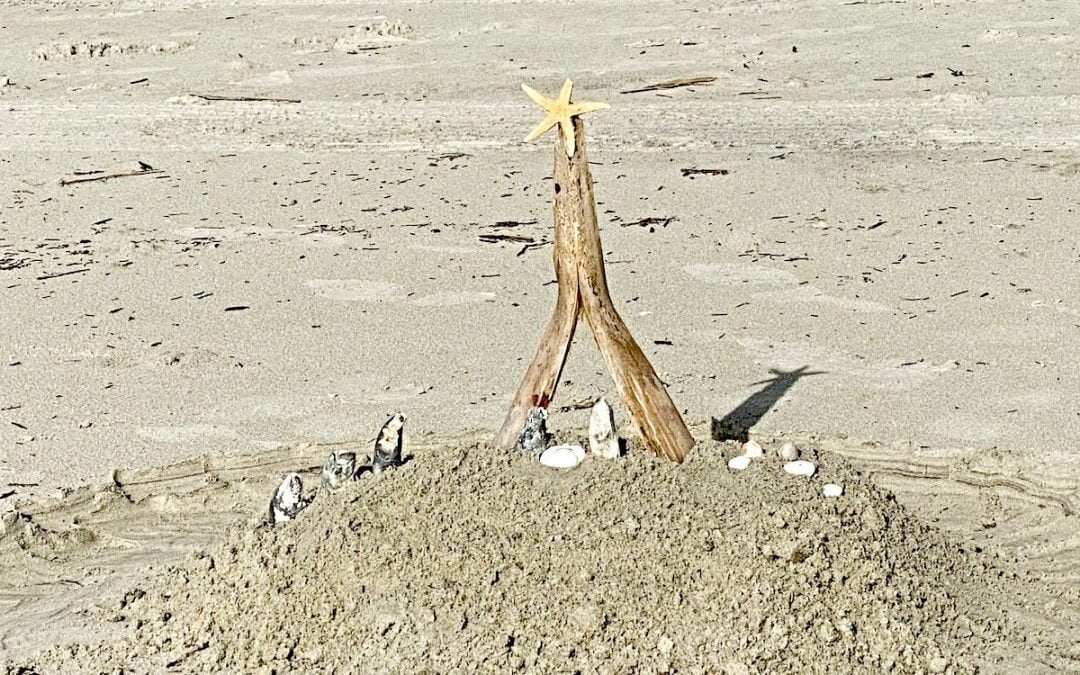 Christmas crèche made of driftwood on beach