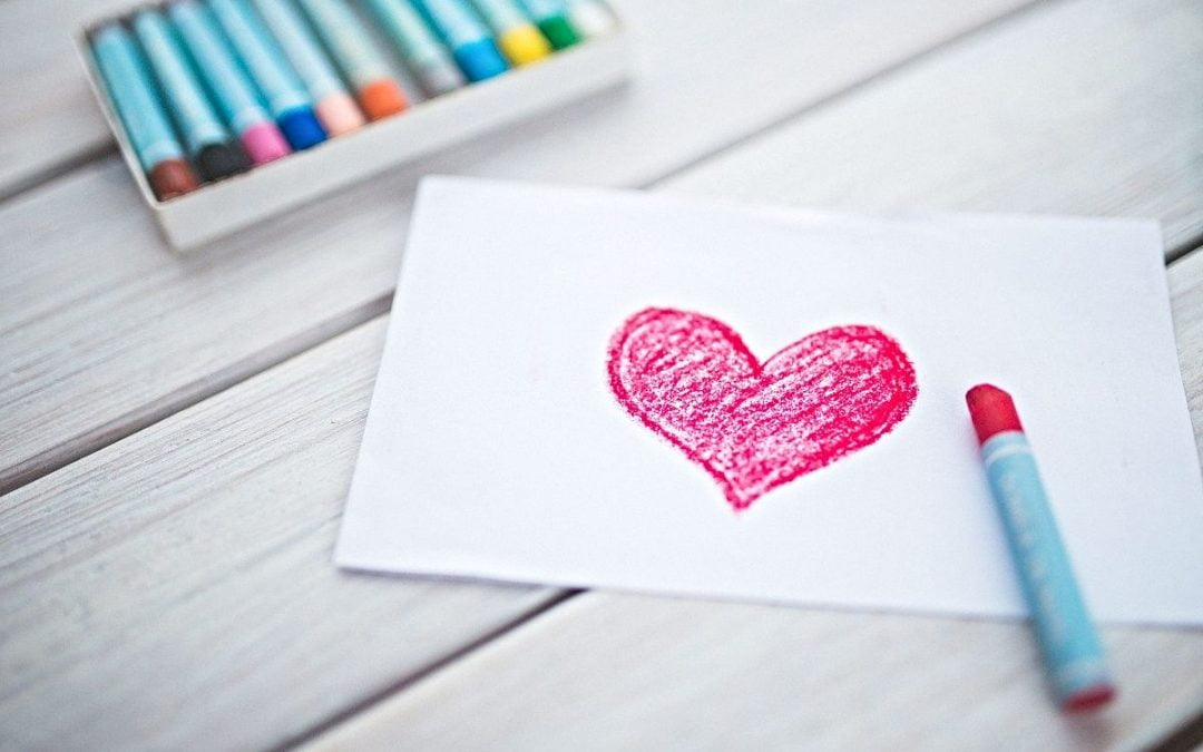 Drawing of a red heart