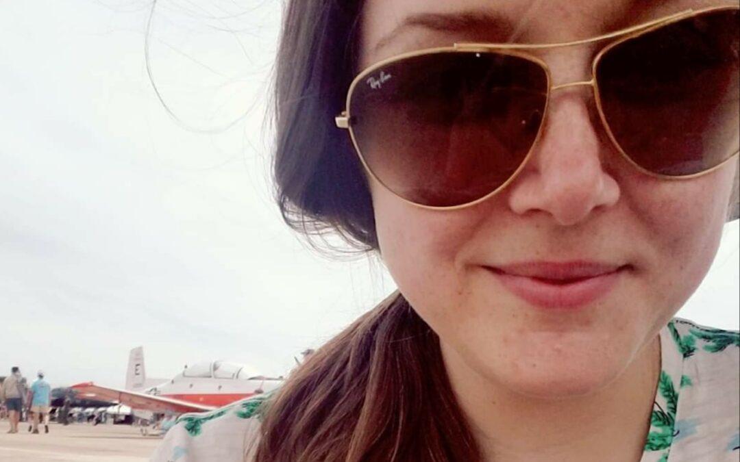 Jessica McDougald wearing glasses