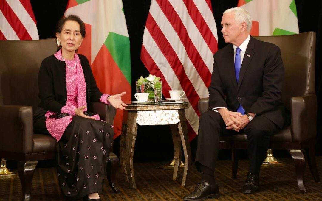 Aung San Suu Kyi meets with then Vice President Mike Pence in 2018.