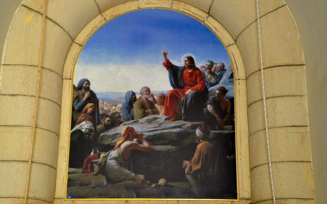 A photo of a fresco depicting Jesus and his followers at The Church of the Beatitudes.