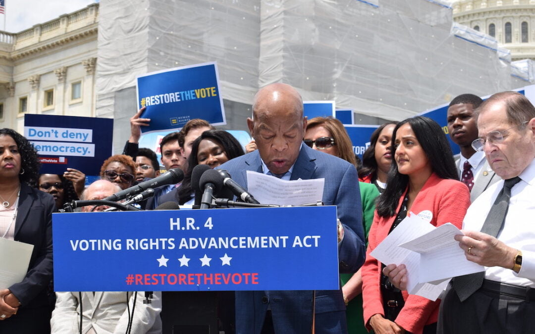 John Lewis speaking at a press conference about voting rights in June 2019.