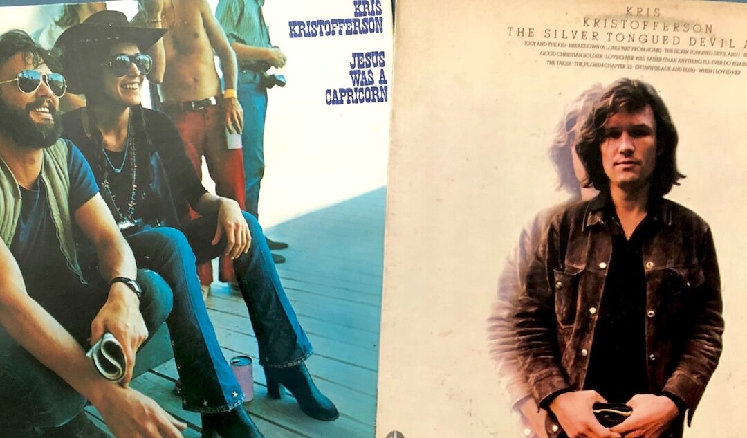 Two vinyl album covers of Kris Kristofferson records, Jesus Was a Capricorn and The Silver-Tongued Devil and I.