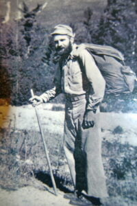 Gene Espy with his walking stick and backpack on the Appalachian Trail