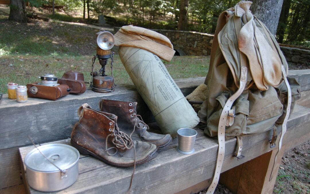 Gene Espy's gear from when he hike the Appalachian Trail