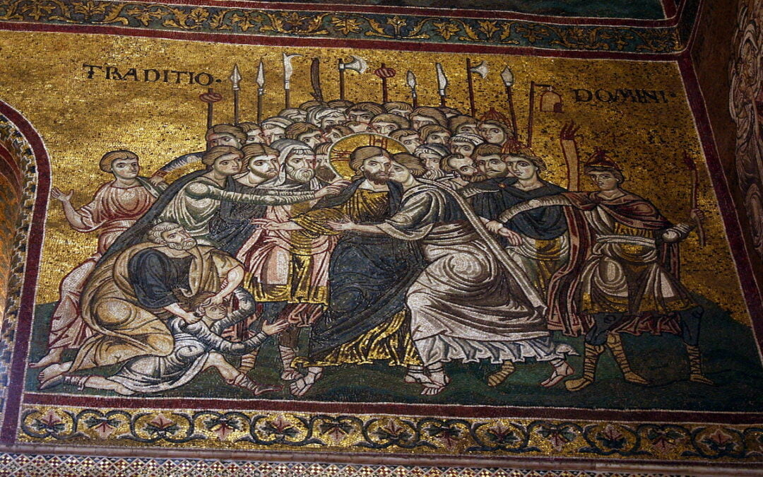 A mosaic in the Cathedral of Monreale in Portugal depicting Judas' betrayal of Jesus.