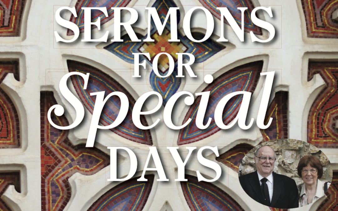 """White lettering that says, """"Sermons for Special Days,"""" on top of a mosaic tile background with a photo of the book authors in the bottom right corner."""