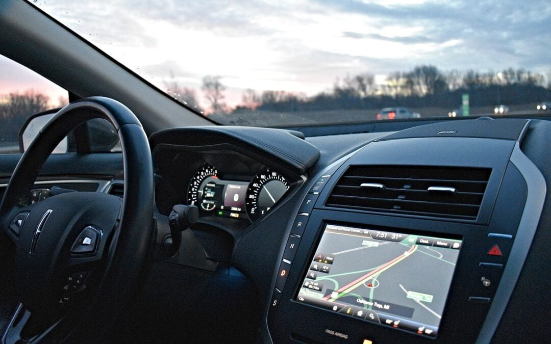 Interior of car with GPS device