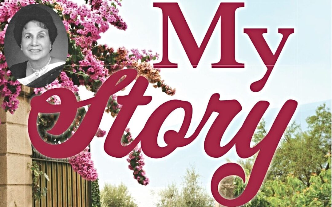 """The words """"My Story"""" over a photo of a pink flowering plant in the foreground and a blue sky in the background."""