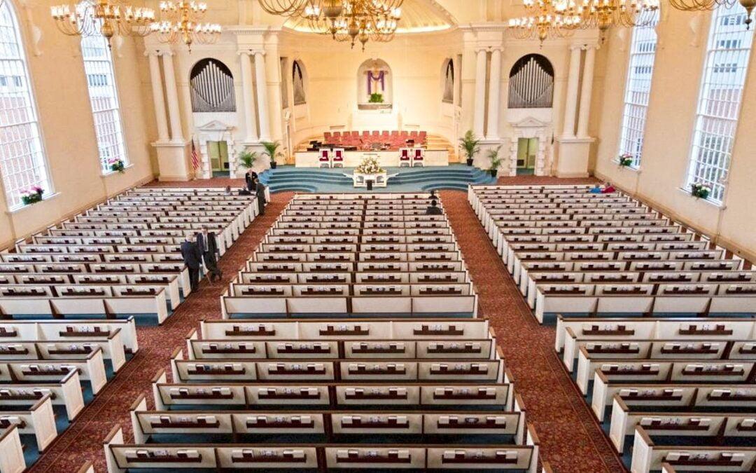 The interior of the Wieuca Road Baptist Church sanctuary.