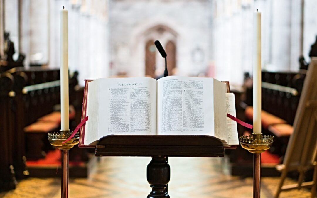 Bible resting on a pulpit