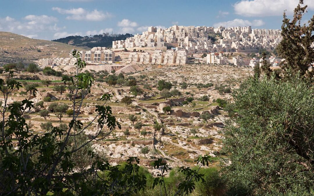 Israeli settlements in the West Bank and East Jerusalem from a distance.