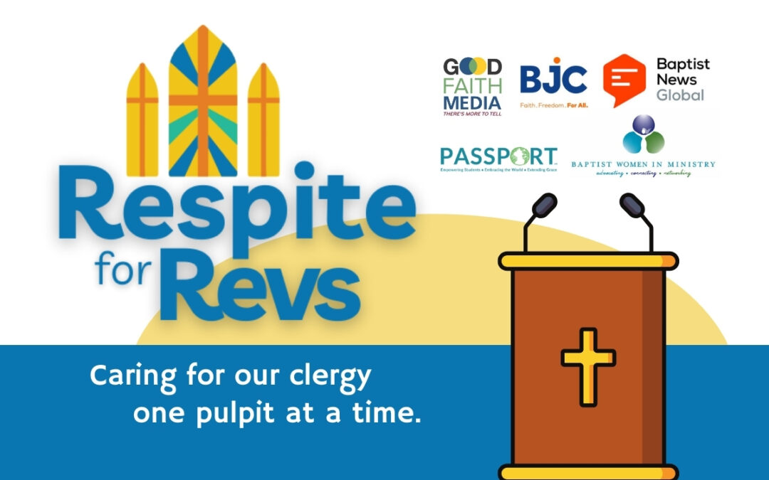 """A graphic for the """"Respite for Revs"""" initiative with organization logos, a pulpit and other promotional information."""