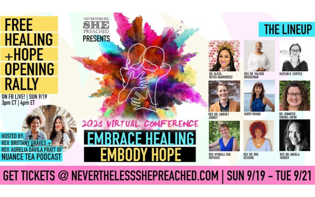 A promotional graphic for Nevertheless She Preached 2021 with a combination of text, graphics and speaker headshots.