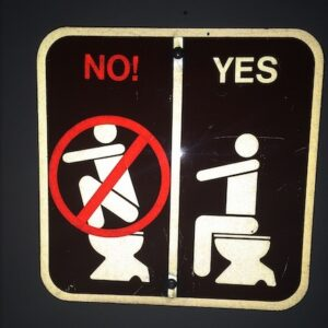 A sign indicating the proper way to use a toilet.