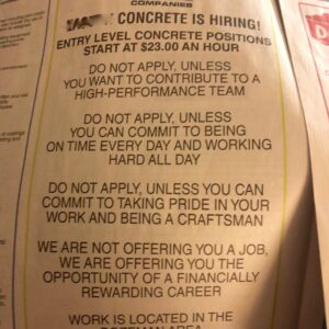 A job advertisement in a local paper.