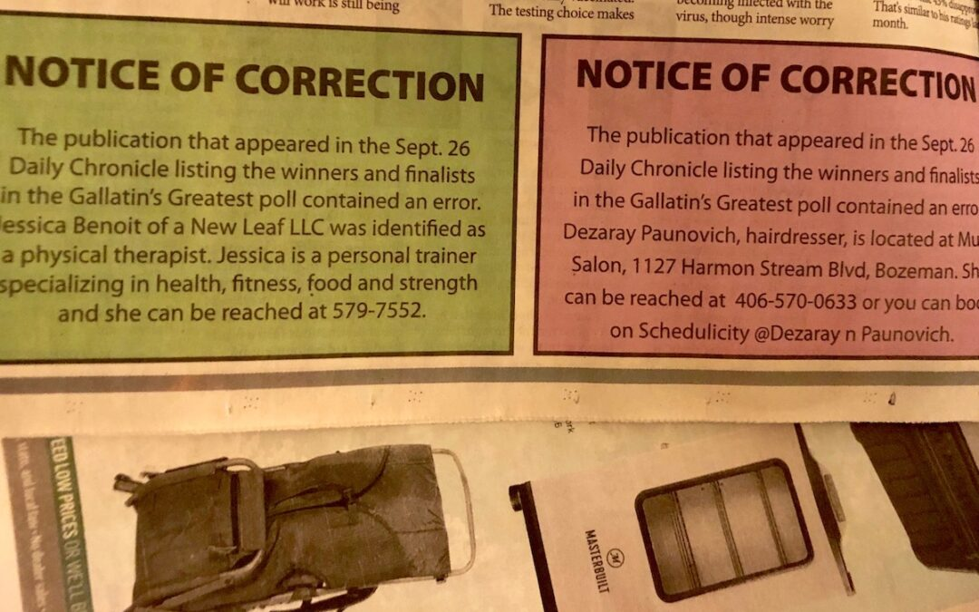 A newspaper notice of correction section.