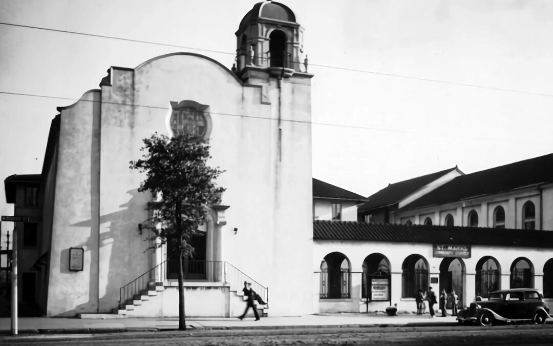 A black and white photo of a New Orleans church exterior.